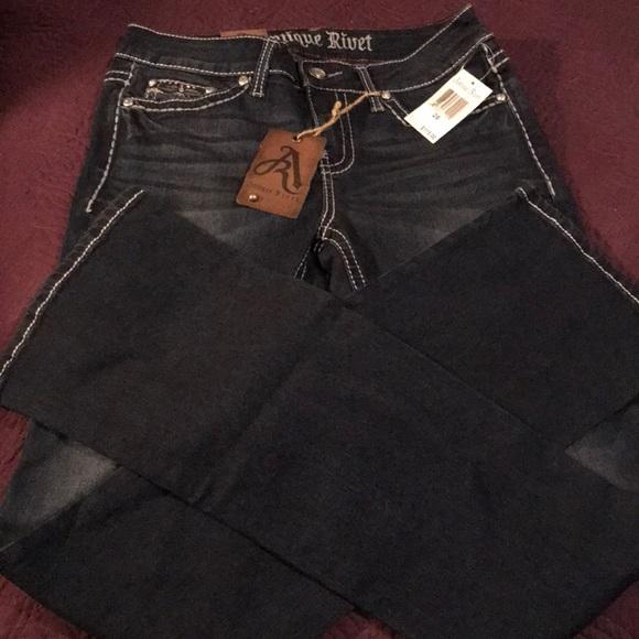 Antique River Denim - Antique Rivet Dk Blue Boot Cut Women's Jeans Sz 26